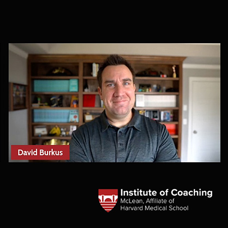 Screenshot of video showing an image of David Burkus