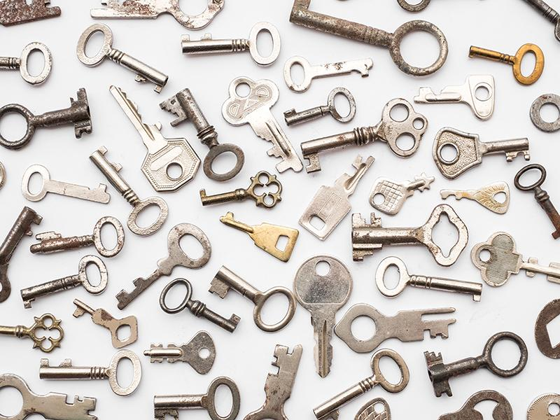 Assorted metal keys on a white background