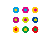 Multi-colored dots in a square pattern