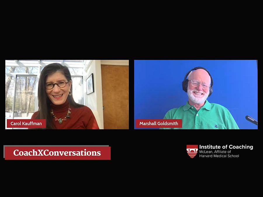 LinkedIn Live Screenshot of Carol Kauffman and Marshall Goldsmith