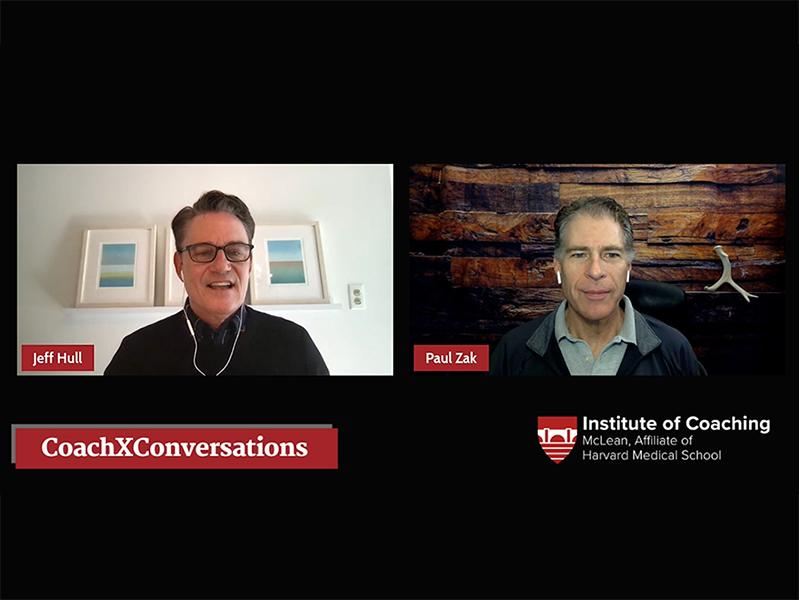 LinkedInLive Screenshot of Jeffrey Hull & Paul Zak CoachXConversation