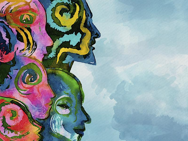 Watercolor abstract faces. Diversity concept banner