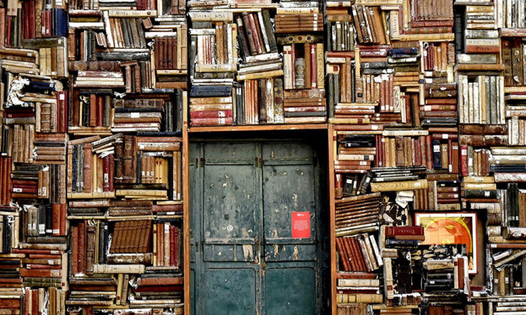 Door into a wall of books