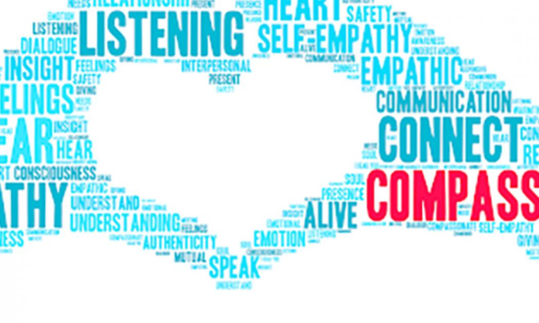 Two hands formed out of words are forming a heart in the middle of the picture. The background is white. The words are largely teal and blue, with one large red word reading Compassion.