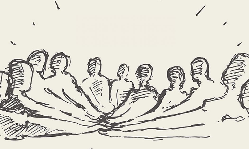 Group people hand teamwork friendship drawn vector