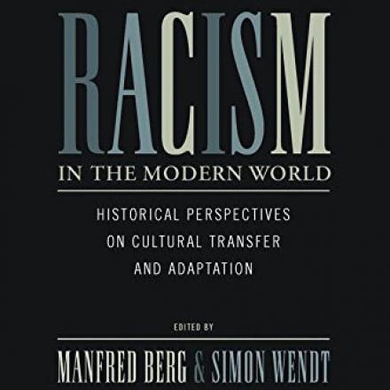 Book Cover. Black background. Blue and Light Yellow Letters. Racism in the Modern World