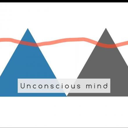 Powerpoint slide. Two triangles and a wavy line