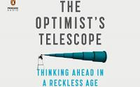 Book Cover: The Optimist's Telescope. White Background with image of telescope.
