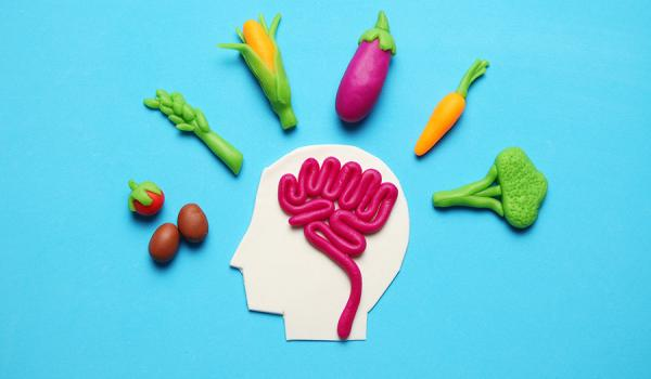 Plasticine figure of man and vegetarian food. Food for mind, charge of energy. Healthy lifestyle, detoxification and antioxidants