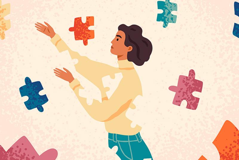 Woman Assembling Herself With Puzzle Pieces - Cartoon Character